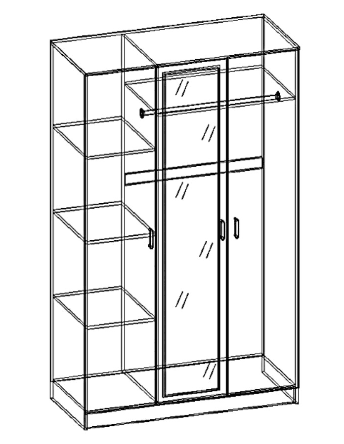 Шкаф распашной 3-х дв. с 1