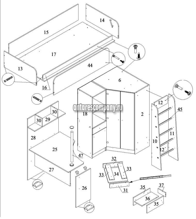 Кровать-чердак Бэмби-4М 01